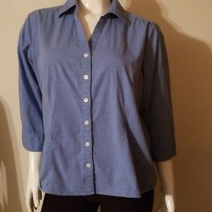 Blue Button Down Top Blouse 3/4 sleeve Size XL